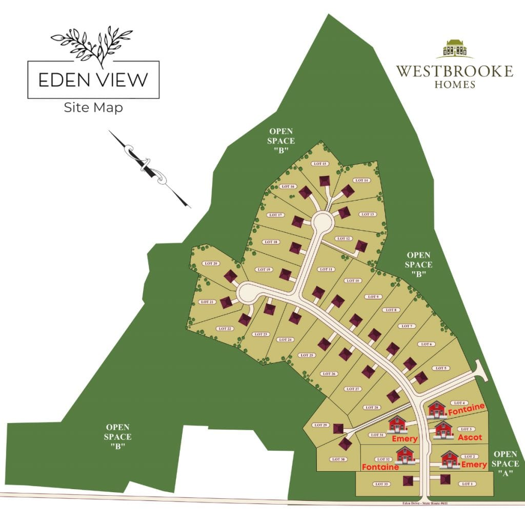 Eden View community map with available homes